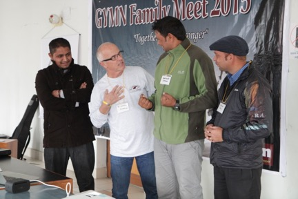 Leading one of sessions in Pokhara